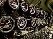 Calibres de pressão a bordo do navio submarino Fotografia de Stock Royalty Free