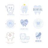 Calibres dentaires de label de Cabinet Set Of de clinique et de dentiste d'enfants dans différents styles créatifs et nuances ble Photo libre de droits