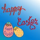 Calibres des textes de carte de voeux avec des oeufs de pâques Joyeuses Pâques Image stock