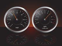 Calibres do painel do automóvel Fotografia de Stock Royalty Free