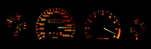 Calibres do painel do carro na obscuridade Fotos de Stock Royalty Free
