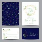 Calibres floraux d'invitation de mariage réglés Sauvez les cartes de date avec l'endroit pour votre texte et feuilles tropicales Photos stock