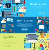 Calibres horizontaux de bannière de conception numérique d'art de vecteur illustration libre de droits