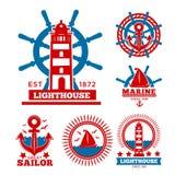 Calibres marins et nautiques de logo ou symboles héraldiques Photos stock