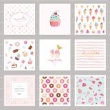 Calibres mignons de carte réglés pour des filles Y compris des cadres, modèles sans couture avec des bonbons anniversaire, mariag illustration de vecteur