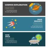 Calibres plats de bannières de vecteur d'exploration de cosmos et de recherche spatiale de galaxie illustration libre de droits