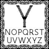 Calibres pour couper des lettres Alphabet anglais en entier Peut être employé pour la coupe de laser Lettres de fantaisie de dent Photo stock