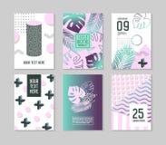 Calibres tropicaux abstraits d'affiche réglés avec des palmettes et des éléments géométriques Hippie Memphis Style Brochure Banne illustration de vecteur