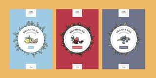 Calibres verticaux floraux d'emballage avec des éléments de cercle illustration stock