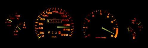 Calibri del cruscotto dell'automobile nello scuro Fotografie Stock Libere da Diritti