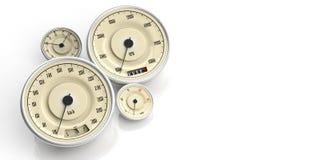 Calibri di automobile d'annata isolati su fondo bianco, spazio della copia illustrazione 3D Immagini Stock Libere da Diritti
