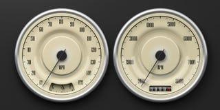 Calibri di automobile d'annata isolati su fondo nero illustrazione 3D Fotografia Stock