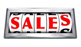 Calibro dell'odometro di parola di vendite 3d che misura gli affari chiusi Immagini Stock Libere da Diritti