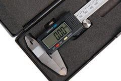 Calibro digitale elettronico in scatola fotografia stock