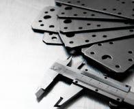 Calibro e spazio in bianco sul metallo graffiato Immagini Stock Libere da Diritti