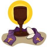 Calice catholique avec des pains de communion et l'étole, illustration de vecteur illustration de vecteur