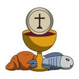 Calice cattolico con vino royalty illustrazione gratis