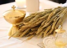 Calice d'or et les oreilles du blé images libres de droits