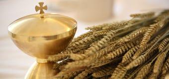 Calice et les oreilles du blé au-dessus d'un autel dans une église photographie stock libre de droits