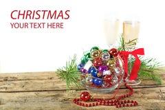 Calici del champagne di Natale Immagini Stock Libere da Diritti
