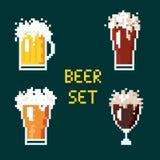 Calici della birra del pixel Fotografia Stock Libera da Diritti