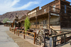 Calico, California, USA - July 1, 2015: The old wooden saloon in the ghost town of Calico royalty free stock images