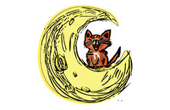 Calico Cat on the moon Illustration. Hand drawn cat and moon, illustration graphics for internet Royalty Free Stock Photos