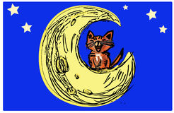 Calico Cat on the moon Illustration. Hand drawn cat moon and stars, illustration graphics for internet. Web pages Facebook iconography sketches Stock Images