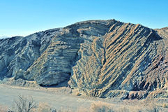 Calico Fault. The wavy pattern in the sedimentary rock was caused by seismic activity on the Calico fault line. Calico is a mining town near Barstow, California Royalty Free Stock Image
