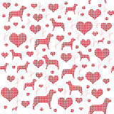 Calico Hearts and Dogs Seamless Pattern Stock Images