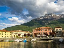 Italian town of Calico by the Como lake royalty free stock photo