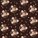 Calicodruk met de weidebloemen van het land Leuke bossen, bladeren, knoppen en bloemblaadjes op bruine achtergrond royalty-vrije illustratie