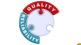 Calidad, confiabilidad, experiencia La marca de verificación bajo la forma de rompecabezas stock de ilustración