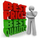 Calidad de Person Thinking Best Price Vs del comprador que elige prioridad Fotografía de archivo
