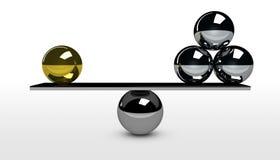 Calidad del negocio contra concepto de la balanza de la cantidad ilustración del vector