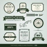 Calidad del vintage y etiquetas y marcos superiores de la garantía Foto de archivo libre de regalías