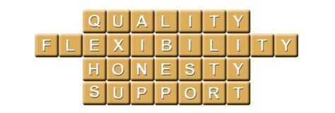 Calidad, flexibilidad, honradez y ayuda stock de ilustración