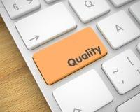 Calidad - inscripción en el botón anaranjado del teclado 3d Fotografía de archivo