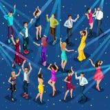 Calidad Isometry, 3D muchacha de un hombre en un partido, disco, partido corporativo, club nocturno, baile hermoso joven de la ge libre illustration