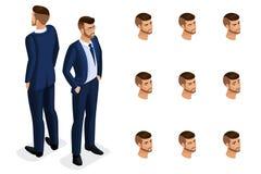Calidad Isometry, hombre de negocios 3D con los vidrios Carácter con un sistema de las emociones para crear calidad libre illustration