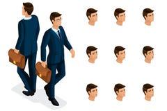 Calidad Isometry, hombre de negocios 3D con los vidrios Carácter con un sistema de las emociones para crear calidad ilustración del vector