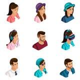 Calidad Isometry, un sistema de los avatares 3D para el uso en las redes sociales, subcultivos modernos, inconformistas, videojug stock de ilustración