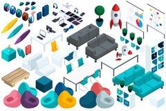 Calidad Isometry, un sistema de los muebles coloridos para el trabajo y el ocio de empresarios jovenes, un ordenador portátil, un ilustración del vector