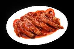 Calidad picante china caliente del estudio de los camarones Foto de archivo
