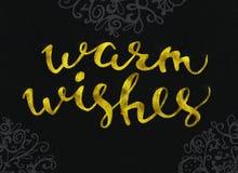 Caliente el diseño de letras moderno elegante del cepillo del oro de los deseos que brilla en un rastr negro del fondo Foto de archivo