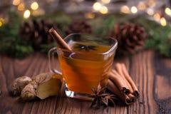 Caliente la bebida para el invierno: té, canela, anís de estrella, y jengibre Fotos de archivo