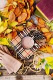 Caliente la bufanda hecha punto y un libro en una bandeja de madera Caída pacífica franco Imagen de archivo libre de regalías