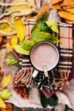 Caliente la bufanda hecha punto y un libro en una bandeja de madera Caída pacífica franco Fotos de archivo