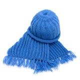 Caliente la bufanda y el casquillo hechos punto Fotografía de archivo libre de regalías