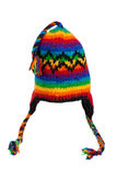 Caliente la bufanda y el sombrero hechos punto con las rayas aisladas foto de archivo libre de regalías